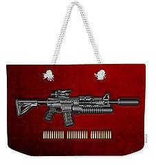 Colt  M 4 A 1  S O P M O D Carbine With 5.56 N A T O Rounds On Red Velvet  Weekender Tote Bag by Serge Averbukh