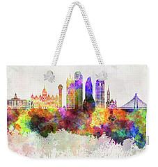 Dallas Skyline In Watercolor Background Weekender Tote Bag by Pablo Romero