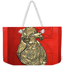 Heart Of Gold - Golden Human Heart On Red Canvas Weekender Tote Bag by Serge Averbukh