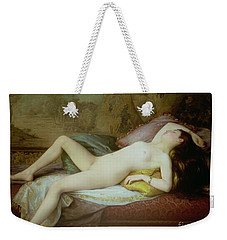 Nude Lying On A Chaise Longue Weekender Tote Bag by Gustave-Henri-Eugene Delhumeau