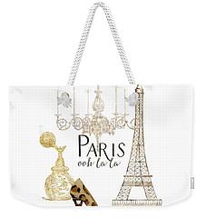 Paris - Ooh La La Fashion Eiffel Tower Chandelier Perfume Bottle Weekender Tote Bag by Audrey Jeanne Roberts