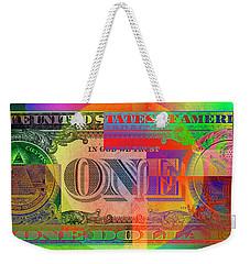 Pop-art Colorized One U. S. Dollar Bill Reverse Weekender Tote Bag by Serge Averbukh