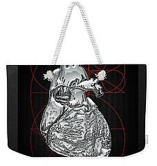 Silver Human Heart On Black Canvas Weekender Tote Bag by Serge Averbukh