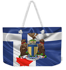 Toronto - Coat Of Arms Over City Of Toronto Flag  Weekender Tote Bag by Serge Averbukh