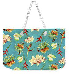 Tropical Island Floral Half Drop Pattern Weekender Tote Bag by Audrey Jeanne Roberts