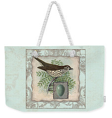 Welcome To Our Nest - Vintage Bird W Egg Weekender Tote Bag by Audrey Jeanne Roberts