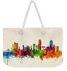 Boston Massachusetts Skyline Weekender Tote Bag by Michael Tompsett
