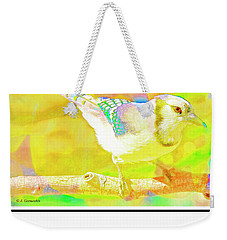 Weekender Tote Bag featuring the digital art Blue Jay, Animal Portrait by A Gurmankin