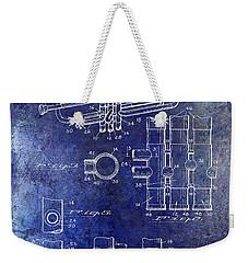 1939 Trumpet Patent Blue Weekender Tote Bag by Jon Neidert