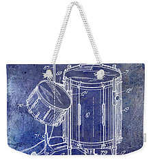 1951 Drum Kit Patent Blue Weekender Tote Bag by Jon Neidert