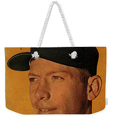 1958 Topps Baseball Mickey Mantle Card Vintage Poster Weekender Tote Bag by Design Turnpike