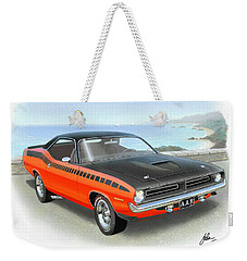 1970 Barracuda Aar  Cuda Classic Muscle Car Weekender Tote Bag by John Samsen