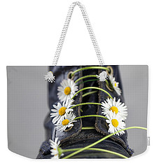 Boots With Daisy Flowers Weekender Tote Bag by Nailia Schwarz
