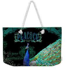 Elegant Peacock W Vintage Scrolls  Weekender Tote Bag by Audrey Jeanne Roberts