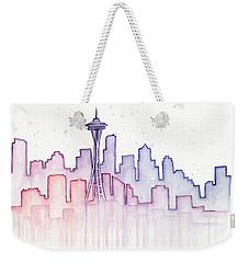 Seattle Skyline Watercolor Weekender Tote Bag by Olga Shvartsur