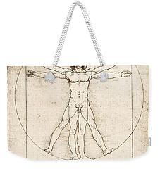The Proportions Of The Human Figure Weekender Tote Bag by Leonardo Da Vinci