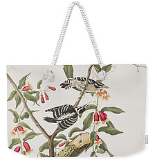 Downy Woodpecker Weekender Tote Bag by John James Audubon