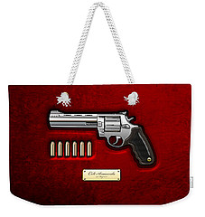 .44 Magnum Colt Anaconda On Red Velvet  Weekender Tote Bag by Serge Averbukh