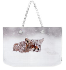 50 Shades Of White And A Touch Of Red Weekender Tote Bag by Roeselien Raimond