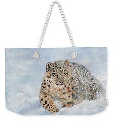 Snow Leopard Weekender Tote Bag by David Stribbling