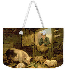 A Boy Looking Into A Pig Sty Weekender Tote Bag by George Morland