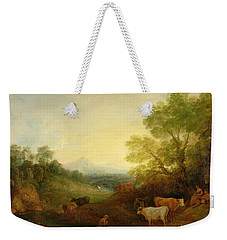 A Landscape With Cattle And Figures By A Stream And A Distant Bridge Weekender Tote Bag by Thomas Gainsborough