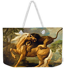 A Lion Attacking A Horse Weekender Tote Bag by George Stubbs