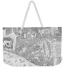 A Map Of The Tower Of London Weekender Tote Bag by John Rocque