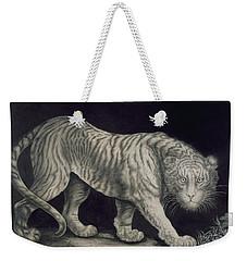 A Prowling Tiger Weekender Tote Bag by Elizabeth Pringle