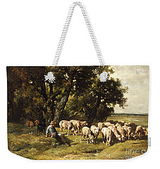 A Shepherd And His Flock Weekender Tote Bag by Charles Emile Jacques
