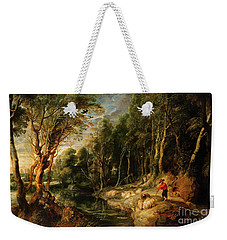 A Shepherd With His Flock In A Woody Landscape Weekender Tote Bag by Rubens