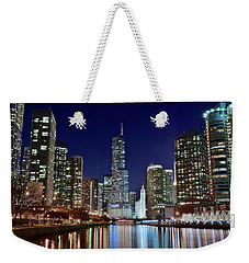 A View Down The Chicago River Weekender Tote Bag by Frozen in Time Fine Art Photography