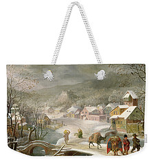 A Winter Landscape With Travellers On A Path Weekender Tote Bag by Denys van Alsloot