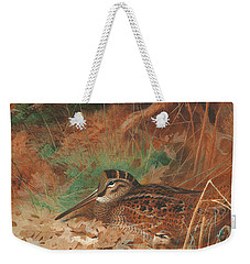 A Woodcock And Chick In Undergrowth Weekender Tote Bag by Archibald Thorburn