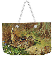 A Woodcock And Chicks Weekender Tote Bag by Archibald Thorburn