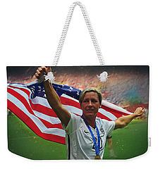 Abby Wambach Us Soccer Weekender Tote Bag by Semih Yurdabak