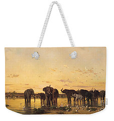 African Elephants Weekender Tote Bag by Charles Emile de Tournemine