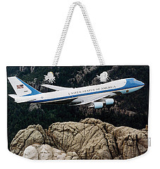 Air Force One Flying Over Mount Rushmore Weekender Tote Bag by War Is Hell Store