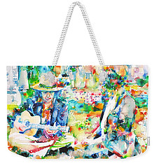 Allen Ginsberg And Bob Dylan - Watercolor Portrait Weekender Tote Bag by Fabrizio Cassetta
