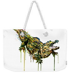 Alligator Watercolor Painting Weekender Tote Bag by Marian Voicu