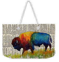 American Buffalo IIi On Vintage Dictionary Weekender Tote Bag by Hailey E Herrera