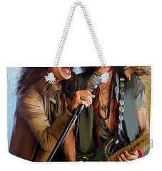 American Rock  Steven Tyler And Joe Perry Weekender Tote Bag by Iconic Images Art Gallery David Pucciarelli