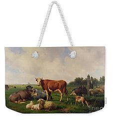 Animals Grazing In A Meadow  Weekender Tote Bag by Hendrikus van de Sende Baachyssun