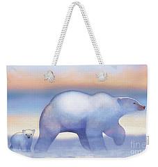 Arctic Bears, Journeys Bright Weekender Tote Bag by Tracy Herrmann