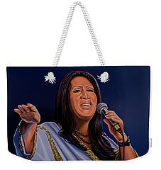 Aretha Franklin Painting Weekender Tote Bag by Paul Meijering