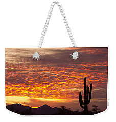 Arizona November Sunrise With Saguaro   Weekender Tote Bag by James BO  Insogna