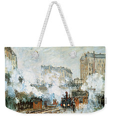 Arrival Of A Train Weekender Tote Bag by Claude Monet