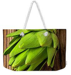 Artichoke On Old Wooden Board Weekender Tote Bag by Garry Gay