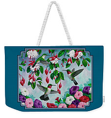 Bird Painting - Hummingbird Heaven Weekender Tote Bag by Crista Forest