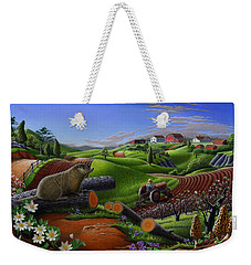 Americana Decor - Springtime On The Farm Country Life Landscape - Square Format Weekender Tote Bag by Walt Curlee